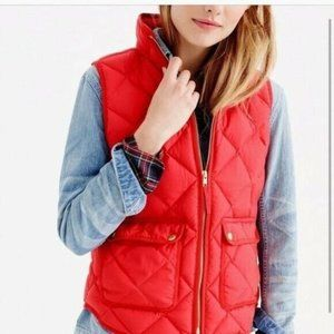 J.Crew Red Quilted Down Womens Vests